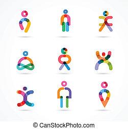 persone, vettore, astratto, collezione, colorito