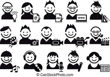 persone, vettore, creativo, icone