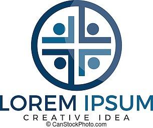 persone, vettore, disegno, chiesa, logotipo, template.