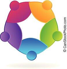 persone, vettore, lavoro squadra, sociale, logotipo, icona