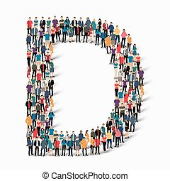persone, vettore, lettera, gruppo, d, forma