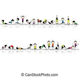 persone, yoga, tuo, fondo, seamless, attivo, disegno