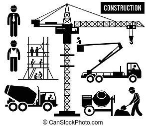 pesante, costruzione, pictogram