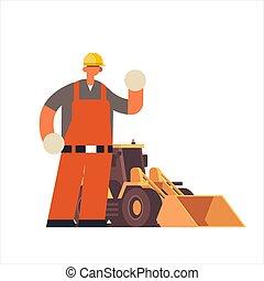 pesante, costruzione, uniforme, appartamento, standing, trattore, lavoratore, cappello, lavoratore, occupato, pieno, costruzione, industriale, lunghezza, maschio, il portare, costruttore, scavatore, duro, concetto