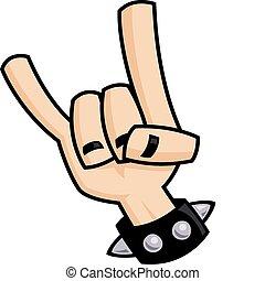 pesante, diavolo, metallo, mano, corna, segno