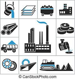 pesante, industria, icone