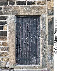 pesante, pietra, antico, porta, audace, legno, sbucciatura, cornice, metallo, vernice, nero, chiuso, sbiadito, vecchio, cardini