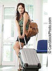 pesante, portante, donna, valigia