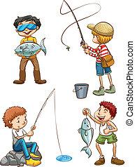 pesca, uomini, schizzo