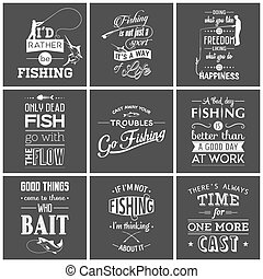 pesca, vendemmia, tipografico, set, citare