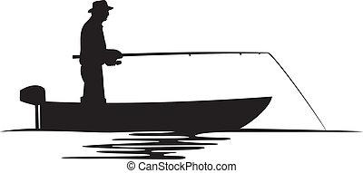 pescatore, silhouette, barca