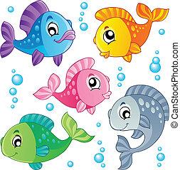 pesci, carino, 3, vario, collezione