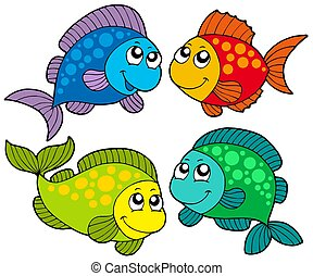 pesci, carino, cartone animato, collezione