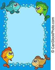 pesci, carino, cornice, bolle