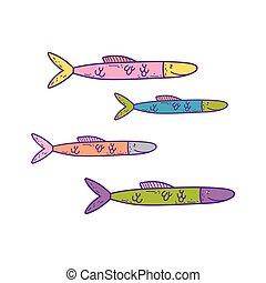 pesci, carino, mare, icona
