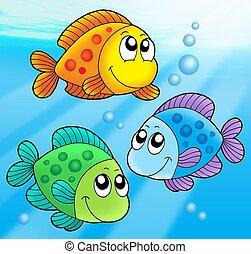 pesci, carino, tre