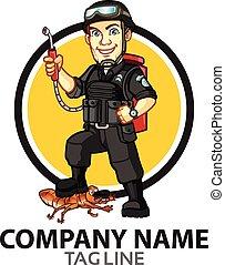 peste, cartone animato, logotipo, controllo