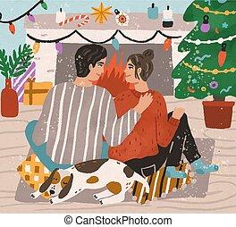 pet., casa, decorato, caminetto, natale, spendere, insieme, felice, seduta, abbracciare, natale, tempo, vettore, altro, appartamento, inverno, uomo, albero, coppia, donna, decor., moquette, illustration., giovane