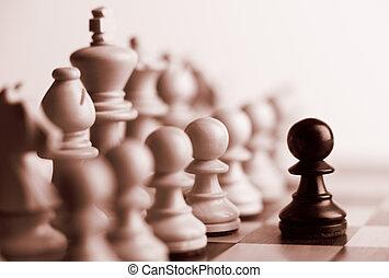 pezzi, nero, scacchi, pegno, bianco