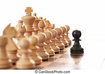 pezzi, nero, stimolante, scacchi, pegno, esercito, bianco