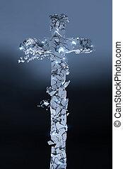 pezzi, pietra, cristiano, image., render, bagliori, molti, interruzioni, croce, scuro, fondo., 3d