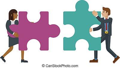 pezzo, caratteri, puzzle, jigsaw, concetto, affari