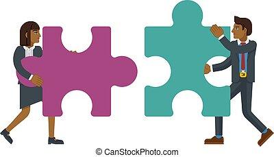 pezzo sega traforo, puzzle, concetto, caratteri affari