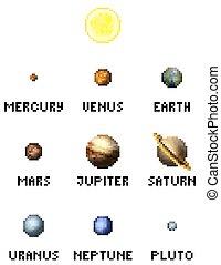 pezzo, sistema, gioco, arte, solare, pixel, pianeti, 8, video