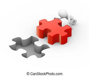 pezzo, spinta, ripieno, puzzle, 3d, uomo