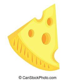 pezzo, vettore, illustrazione, triangolare, cheese.
