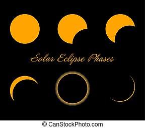 phases., eclissi, isolato, fondo., nero, solare, vector.