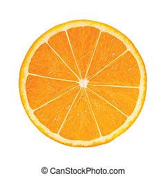 photo-realistic, arancia, slice., vettore, illustrazione