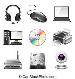 photo-realistic, computer, set, vettore, icone