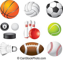photo-realistic, set, sport, vettore, palle