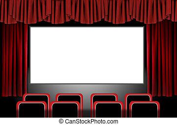 photoshop, teatro copre, film, illustrazione, setting:, rosso, palcoscenico