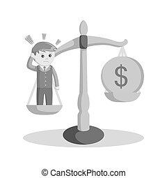 più basso, because, dollaro, confuso, esso, stile, nero, bianco, paragonato a, uomo