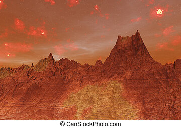 pianeta, 3d, illustrazione, superficie, marte