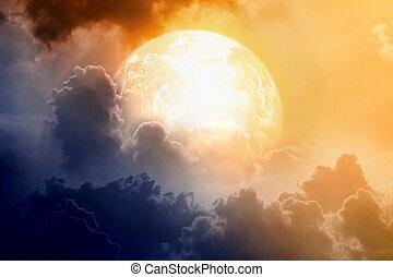 pianeta, ardendo, cielo drammatico