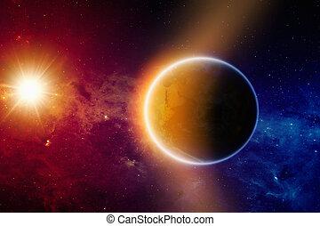 pianeta, ardendo, terra