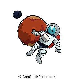 pianeta, astronauta, marte
