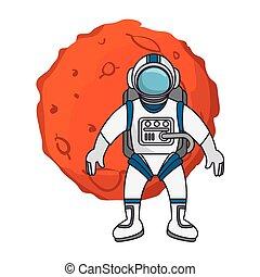 pianeta, astronauta, sistema, solare