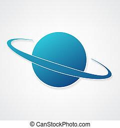 pianeta, blu, icona