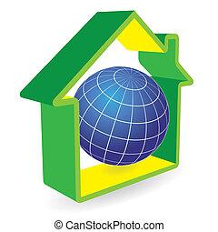 pianeta, casa, verde