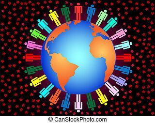 pianeta, collegamento, colorito, affari