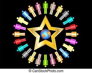 pianeta, colorito, persone affari