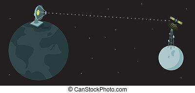 pianeta, comunicazione, terra, /, luna