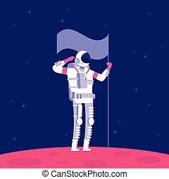 pianeta, concetto, esterno, colonization., holging, space., progetto, bandiera, vettore, astronauta, marte, astronautica, rosso