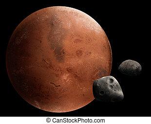 pianeta, digitale, marte, pittura, rosso