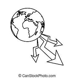 pianeta, diminuzione, disegno, isolato