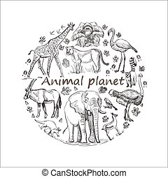pianeta, disegnato, risparmiare, mano animale